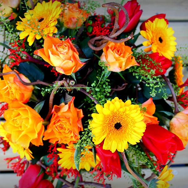 photo d'un bouquet dans les tons chauds