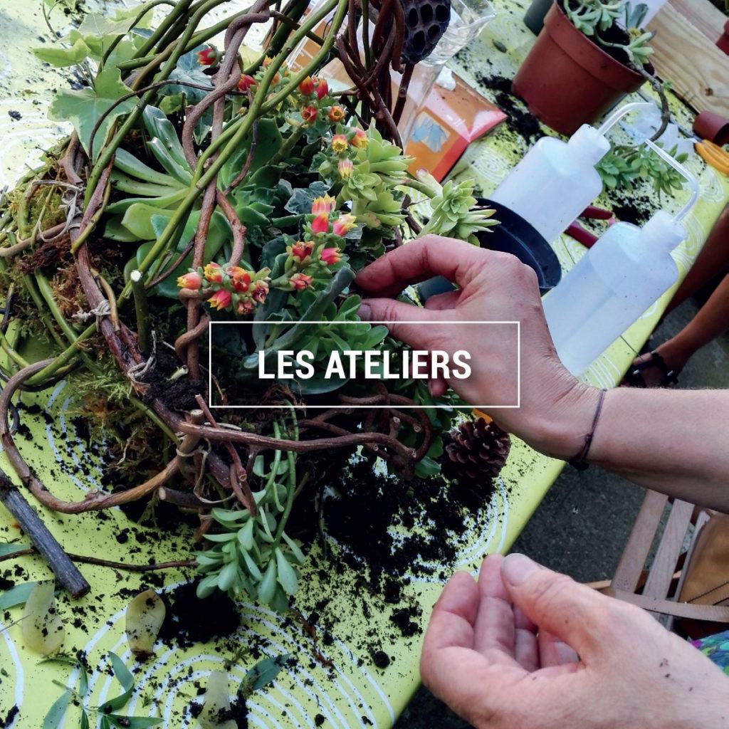 """photo prise au cours d'un atelier végétal : réalisation d'un """"nid"""""""